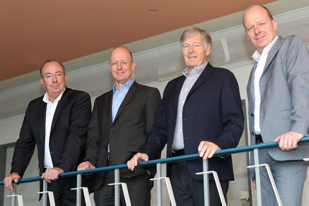 Peter Esser (Vizepäsident DIHK und Vorstand ESP), Jan Metzger (Intendant Radio Bremen), Gred Stracke (Vizepräsident IHK Karlsruhe), Dr. Sebastian Engelbrecht (Deutschlandradio)